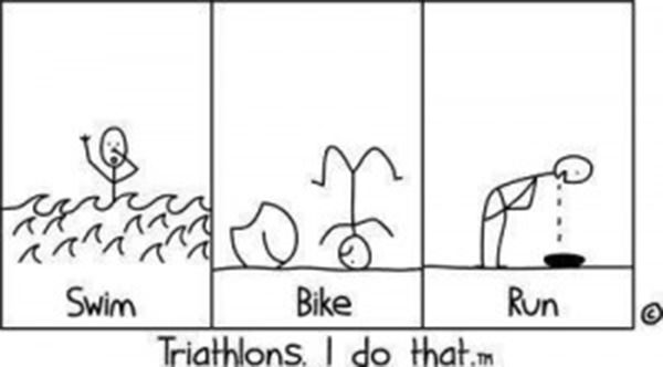 Laugh Your Abs Off With These Fitness Posters #6: Swim, Bike, Run Triathlon Comic