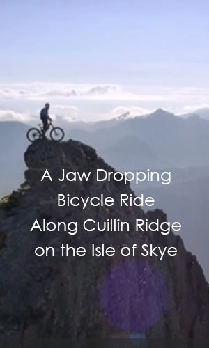 Danny MacAskill traverses the breathtaking but death-defying route along the Cuillin Ridgeline on the Isle of Skye.
