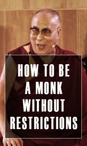 In this short clip, the Dalai Lama jokes with Michael Franti about appearances, long term contentedness and how to be a monk without restrictions.