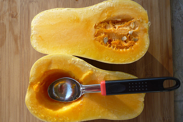 Easily scoop out squash seeds