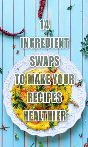 One of the best things about home cooking is that you can make just about any dish healthier with some simple substitutions. Check out 14 super swaps to boost nutrition in your recipes while slashing calories, sugar and saturated fat.