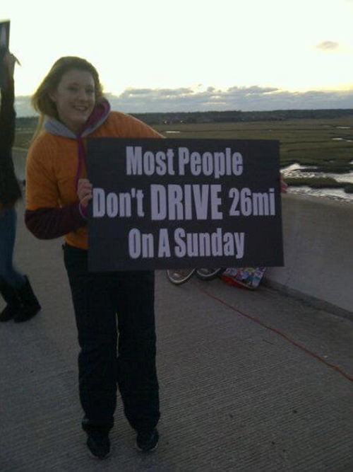 Funniest Running Signs #i: Most people don't drive 26 miles on a Sunday.