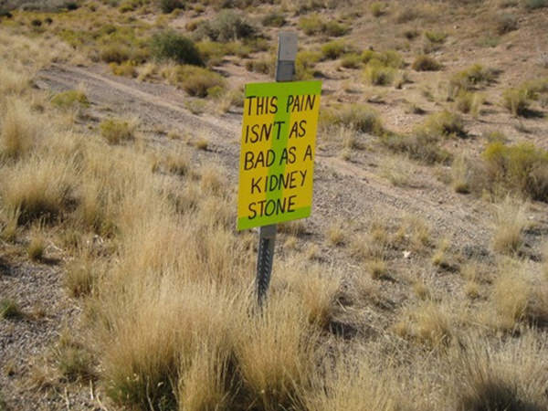 Funniest Running Signs #i: This pain isn't as bad as a kidney stone.