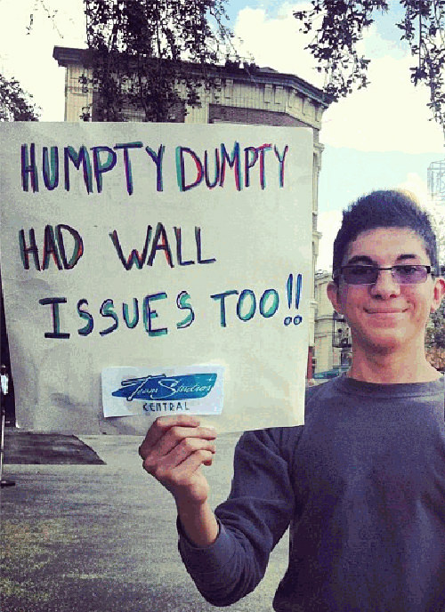 Funniest Running Signs #i: Humpty Dumpty had wall issues too.