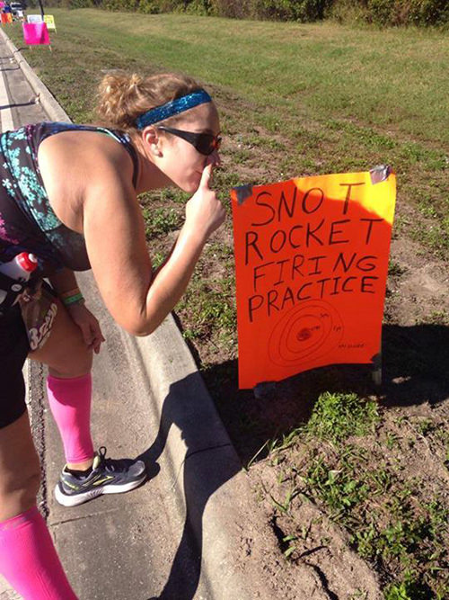 Best Running Pitstops At A Road Race #6: Snot Rocket Firing Practice.