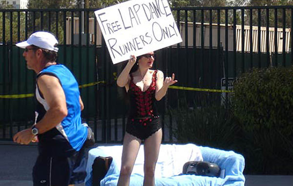 Best Running Pitstops At A Road Race #8: Free Lap Dance. Runners only.