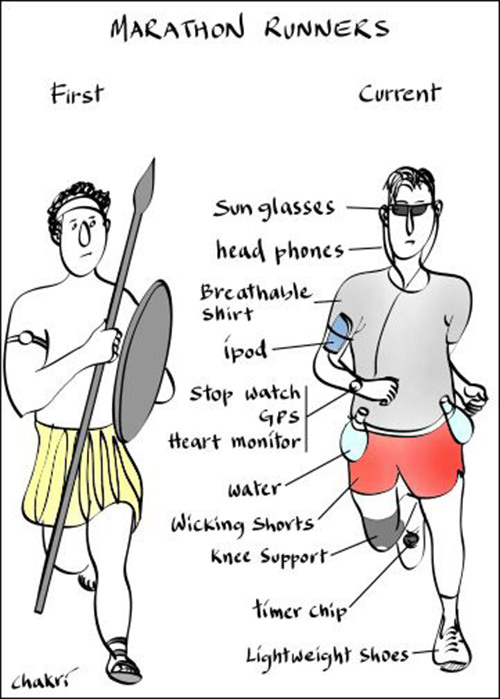 Funnies You'll Enjoy It You're A Runner #9: Marathon Runners. First vs Current.