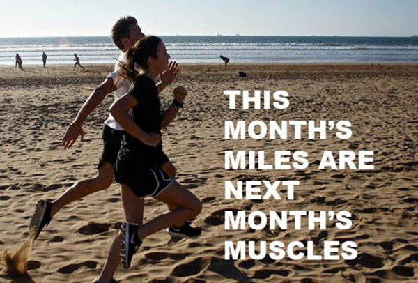 Inspirational Messages To Get You Off That Couch And Go Running #17: This month's miles are next month's muscles.