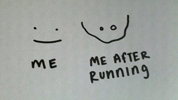 Inspirational Messages To Get You Off That Couch And Go Running #18: My smile before and after running.