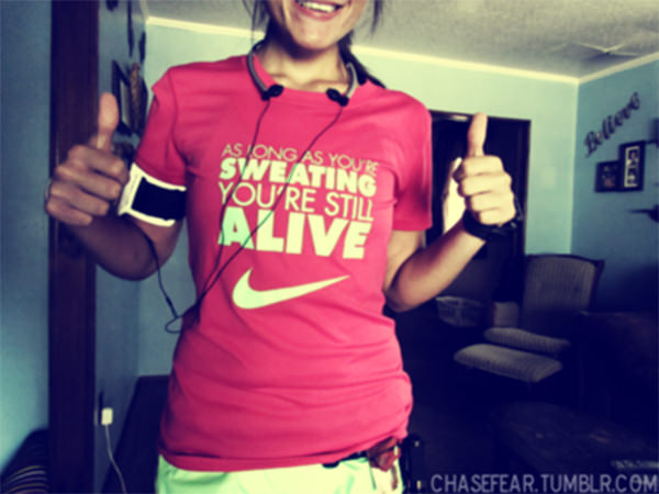 Inspirational Running Quotes For When Your Tank Is Empty #8: As long as you're sweating, you're still alive.