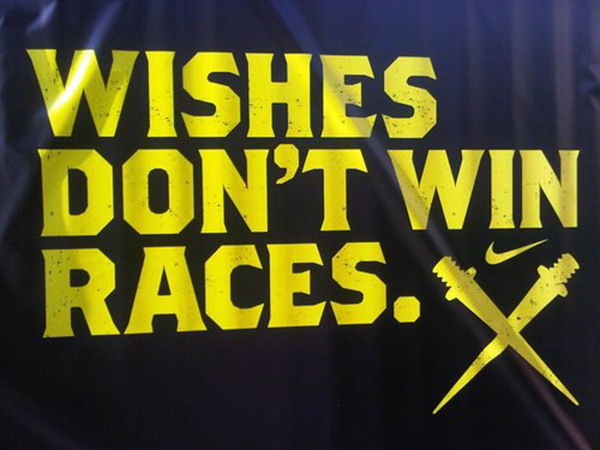 Inspirational Running Quotes For When Your Tank Is Empty #17: Wishes don't win races.