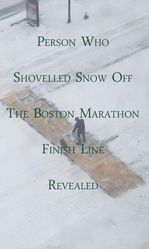 The photo became viral and the search started... for the man who shovelled the snow off the finish line of the Boston Marathon on Wednesday, January 28, 2015. His identity has since been determined.