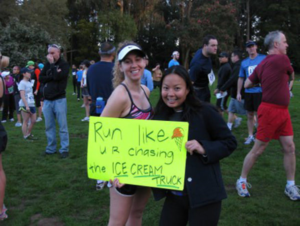 Spectator Placards That Will Get You Running Faster #4: Kiss me. I won't tell your wife.