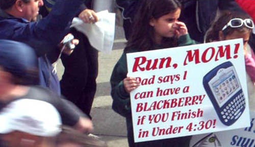 Spectator Placards That Will Get You Running Faster #7: Proud wife of runner. Cross that finish line and I'll give you the best 13.1 minutes of you life. 10.1 more than usual.