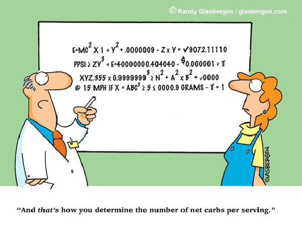 Food Humor #93: And that's how you determine the number of net carbs per serving.