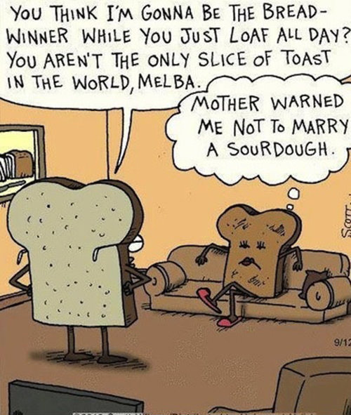 Food Humor #98: You think I'm gonna be the bread winner while you just loaf all day? You aren't the only slice of toast in the world, Melba. Mother warned me not to marry a sourdough.